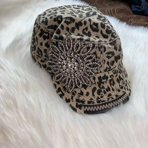 Olive & Pique Leopard Bling Military Style Hat